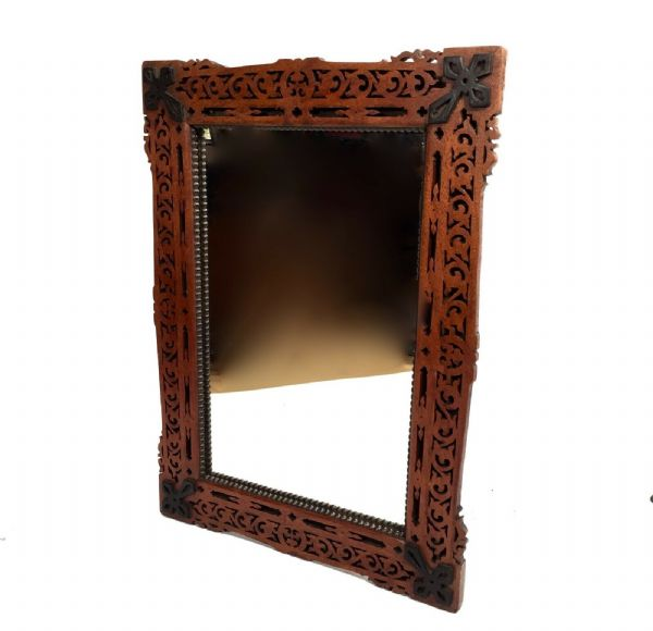 Antique Wooden Fretwork Framed Mirror / Wall Hanging / 19th Century Victorian